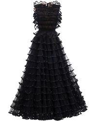 Giambattista Valli Sleeveless Ruffled Tulle Dress - Black