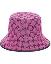 Gucci Gg Multicolour Canvas Bucket Hat - Purple