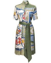 Ferragamo シルクツイルドレス - マルチカラー