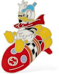 Gucci Missile & Donald Enamel Brooch - Metallic