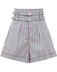 Philosophy Di Lorenzo Serafini - High Waist Check Stretch Poplin Shorts - Lyst