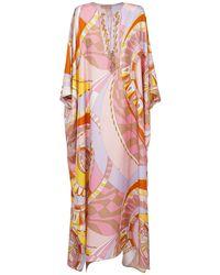 Emilio Pucci Платье-кафтан Из Шёлкового Жоржета - Розовый
