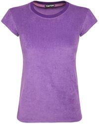 Tom Ford T-shirt En Jersey De Coton - Violet