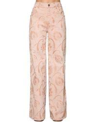 Etro Flared Cotton Denim Jacquard Jeans - Pink