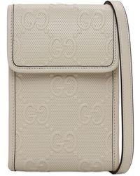 Gucci Mini Tasche Aus Gg-geprägtem Leder - Weiß