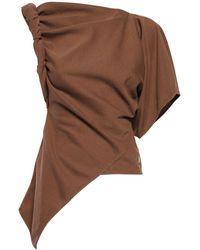 The Attico アシンメトリーコットンジャージーtシャツ - ブラウン