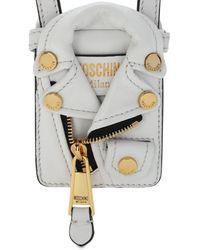 Moschino Biker Jacket レザーポーチ - ホワイト