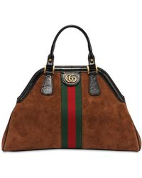 Gucci - Large Dome Suede & Leather Bag - Lyst
