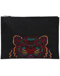KENZO タイガー刺繍 ナイロンポーチ - ブラック