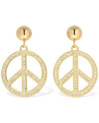 Moschino Peace Clip-on Earrings W/ Crystals - メタリック