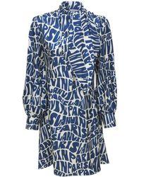 Lanvin シルクツイルドレス - ブルー