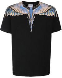 Marcelo Burlon T-shirt En Jersey De Coton Imprimé Ailes - Noir