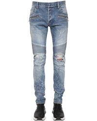 Balmain Jean Biker Slim En Denim De Coton 15 Cm - Bleu