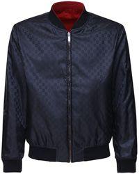 Gucci Wendbare Bomberjacke Aus Nylon Mit Gg-logo - Blau