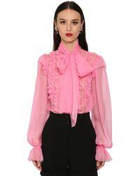 Dolce & Gabbana Camicia In Chiffon Di Seta - Rosa