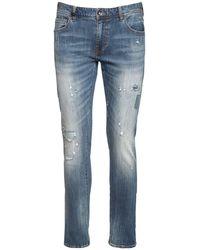 Armani Exchange Jeans In Denim Stretch Distressed - Blu