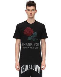 Chinatown Market ラインストーン コットンジャージーtシャツ - ブラック
