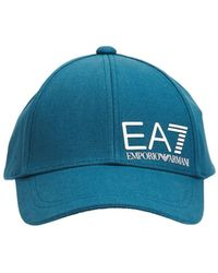 EA7 コットンキャンバスベースボールキャップ - ブルー
