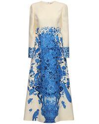 Valentino Платье Из Крепа С Принтом - Синий