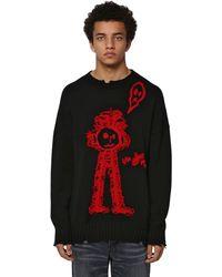 Marcelo Burlon Crewneck Wool Jacquard Knit Jumper - Black