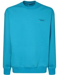 ADER error Logo Print Cotton Blend Sweatshirt - Blue