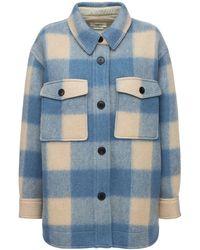 Étoile Isabel Marant Harveli Check Felted Wool Blend Jacket - Blue