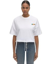 Moschino T-shirt Cropped In Jersey Di Cotone Con Logo - Bianco