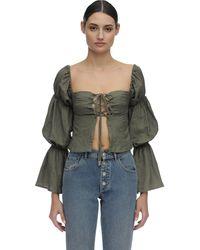 Cult Gaia Claire Draped Linen Shirt - Grün