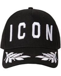 DSquared² Icon Cotton Canvas Baseball Hat - Black