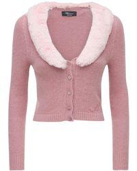 Blumarine Cardigan Aus Angoramischstrick Mit Kunstpelz - Pink