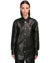 Bottega Veneta ナッパレザーシャツジャケット - ブラック