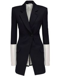Peter Do Long Wool Blazer W/ Contrasting Cuffs - Blue