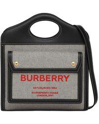 Burberry Сумка Из Канваса И Кожи - Черный