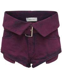 Marques'Almeida Organic Cotton Denim Belted Shorts - Purple