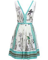 """Le Sirenuse Mini-robe En Coton Imprimé """"sophia"""" - Blanc"""