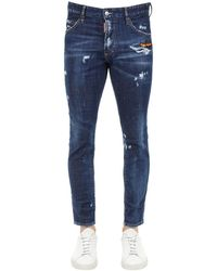 DSquared² 15cm Skinny Dan Cotton Denim Jeans - Blue