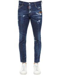 DSquared² Jean En Denim De Coton Coupe Skinny Dan 15 Cm - Bleu