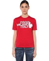 DSquared² T-shirt Aus Baumwolljersey Mit Druck - Rot