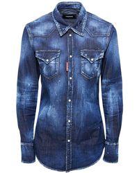 DSquared² Chemise En Denim De Coton Stretch Foncé - Bleu