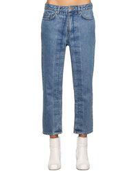 AALTO Fixed Pleats Cropped Denim Jeans - Blue
