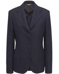 Versace Blazer Aus Wolljacquard Mit Nadelstreifen - Blau