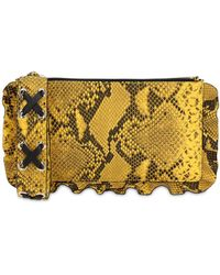 RED Valentino Python Printed Leather Pouch - Yellow
