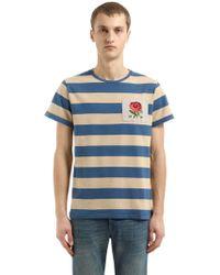 "Kent & Curwen T-shirt En Batiste De Coton À Rayures ""gridlan"" - Bleu"