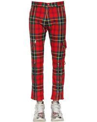Alexander McQueen Pantalones rectos a cuadros - Rojo