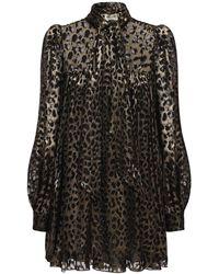 Saint Laurent - Мини-платье Из Атласа С Принтом - Lyst