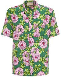 Gucci Ken Scott Print Silk Bowling Shirt - Green