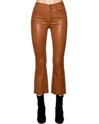 FRAME Cropped Straight Leg Leather Pants - Braun