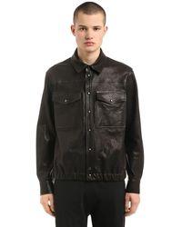 Neil Barrett レザーシャツジャケット - ブラック