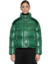 Moncler Chouette Nylon Velvet Laqué Down Jacket - Green