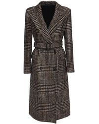 Tagliatore 0205 Jole Check Wool Blend Midi Coat - Black